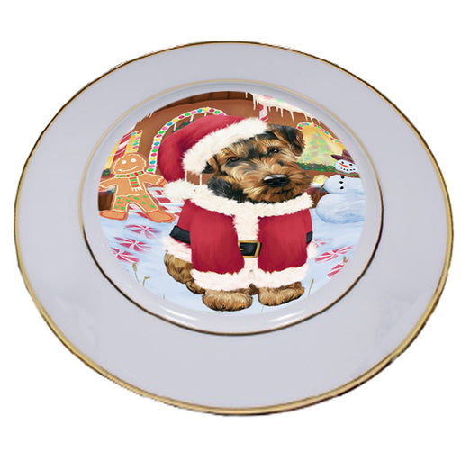Christmas Gingerbread House Candyfest Airedale Terrier Dog Porcelain Plate PLT54470