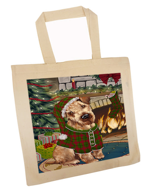 The Stocking was Hung Airedale Terrier Dog Tote TTE55149