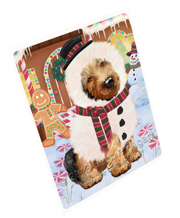 Christmas Gingerbread House Candyfest Airedale Terrier Dog Large Refrigerator / Dishwasher Magnet RMAG99000