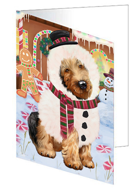 Christmas Gingerbread House Candyfest Airedale Terrier Dog Note Card NCD72881