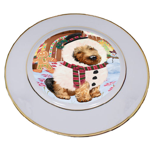 Christmas Gingerbread House Candyfest Airedale Terrier Dog Porcelain Plate PLT54471