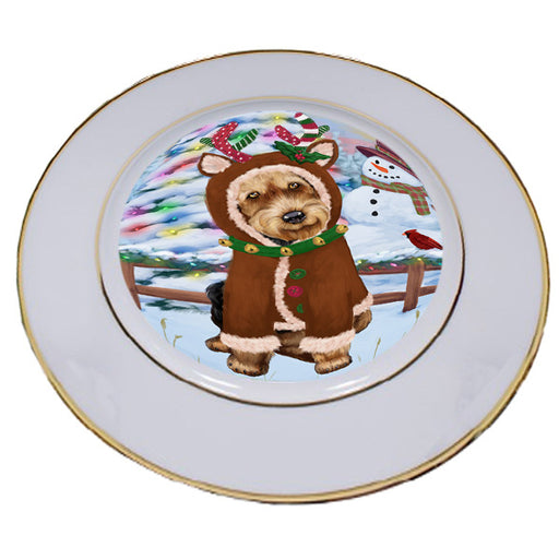 Christmas Gingerbread House Candyfest Airedale Terrier Dog Porcelain Plate PLT54472