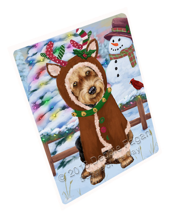 Christmas Gingerbread House Candyfest Airedale Terrier Dog Large Refrigerator / Dishwasher Magnet RMAG99006