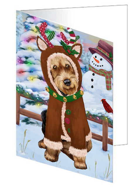 Christmas Gingerbread House Candyfest Airedale Terrier Dog Note Card NCD72884