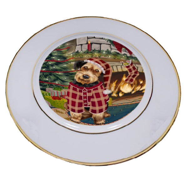 The Stocking was Hung Airedale Terrier Dog Porcelain Plate PLT53499