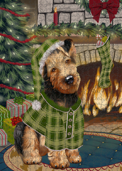 The Stocking was Hung Airedale Terrier Dog Puzzle with Photo Tin PUZL88808