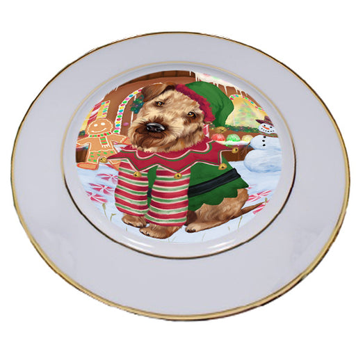 Christmas Gingerbread House Candyfest Airedale Terrier Dog Porcelain Plate PLT54473