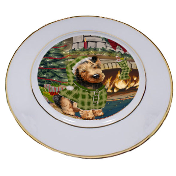 The Stocking was Hung Airedale Terrier Dog Porcelain Plate PLT53500