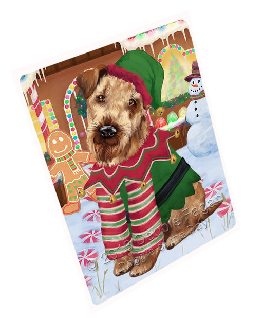 Christmas Gingerbread House Candyfest Airedale Terrier Dog Large Refrigerator / Dishwasher Magnet RMAG99012