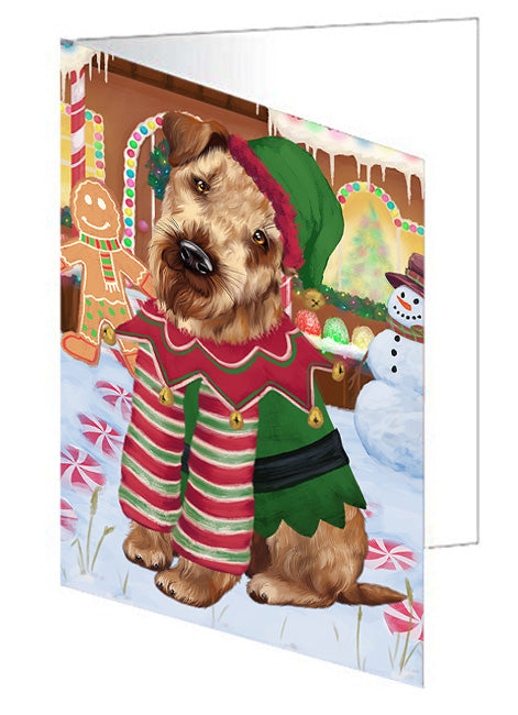 Christmas Gingerbread House Candyfest Airedale Terrier Dog Note Card NCD72887