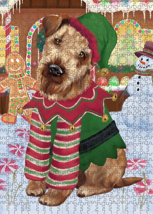 Christmas Gingerbread House Candyfest Airedale Terrier Dog Puzzle with Photo Tin PUZL92696