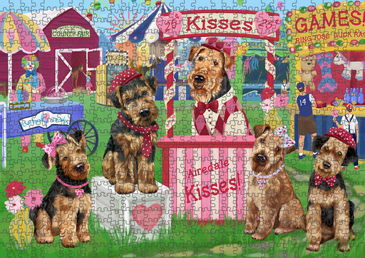 Carnival Kissing Booth Airedale Terriers Dog Puzzle with Photo Tin PUZL91284