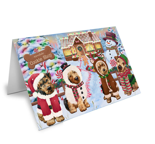 Holiday Gingerbread Cookie Shop Airedale Terriers Dog Note Card NCD72788