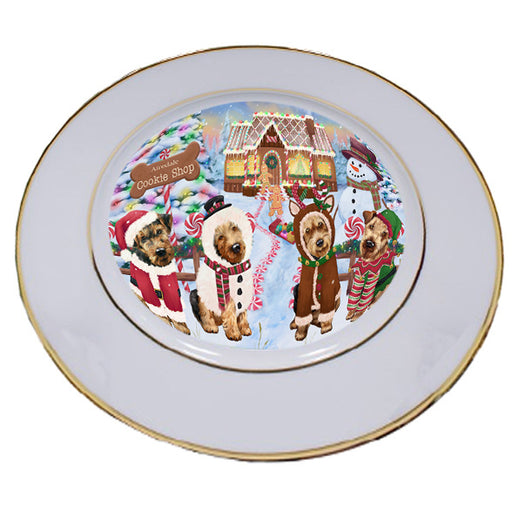 Holiday Gingerbread Cookie Shop Airedale Terriers Dog Porcelain Plate PLT54440