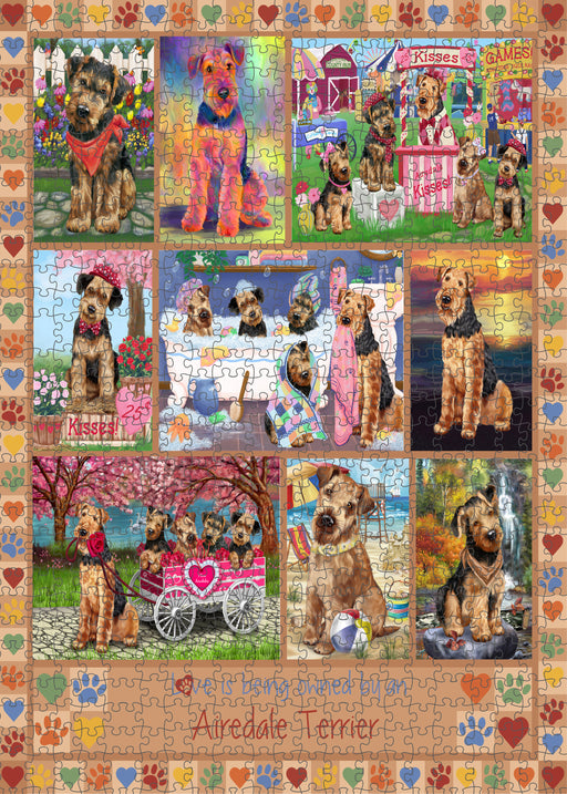Love is Being Owned Airedale Terrier Dog Beige Puzzle with Photo Tin PUZL98148