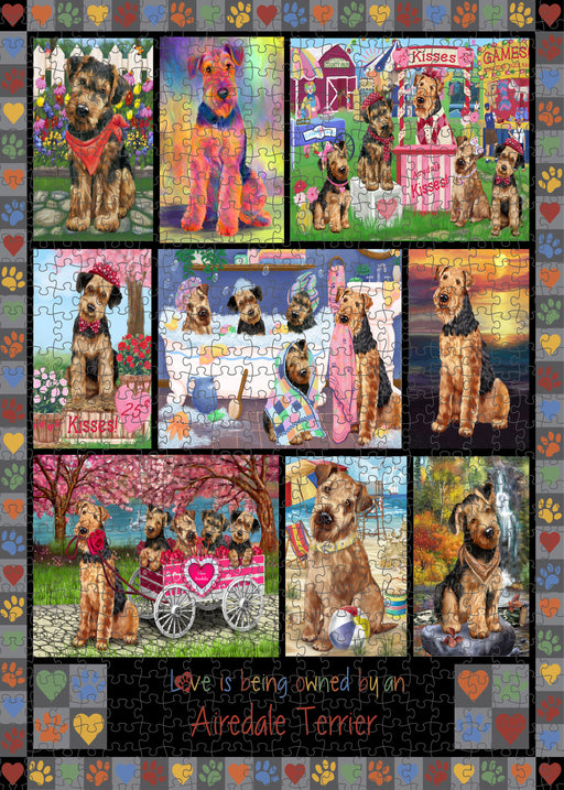 Love is Being Owned Airedale Terrier Dog Grey Puzzle with Photo Tin PUZL98152