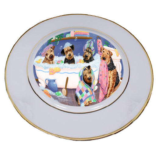 Rub A Dub Dogs In A Tub Airedale Terriers Dog Porcelain Plate PLT55098