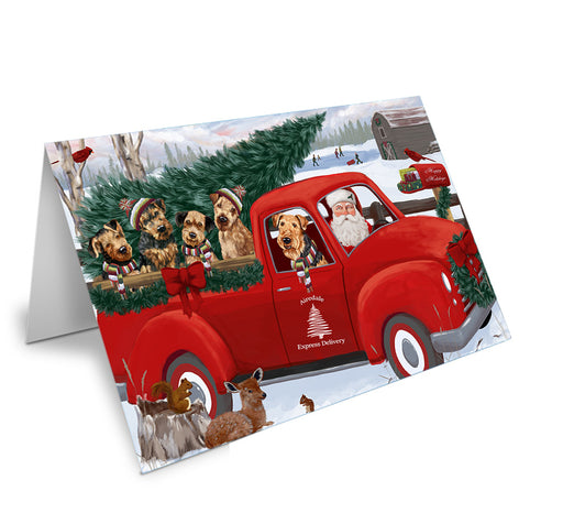 Christmas Santa Express Delivery Airedale Terriers Dog Family Note Card NCD68819
