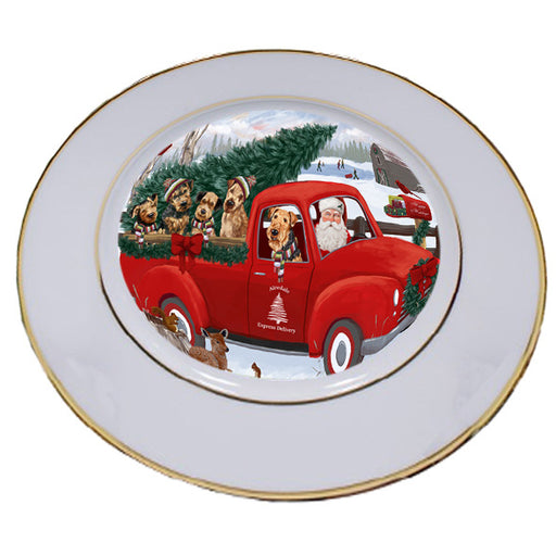 Christmas Santa Express Delivery Airedale Terriers Dog Family Porcelain Plate PLT56919