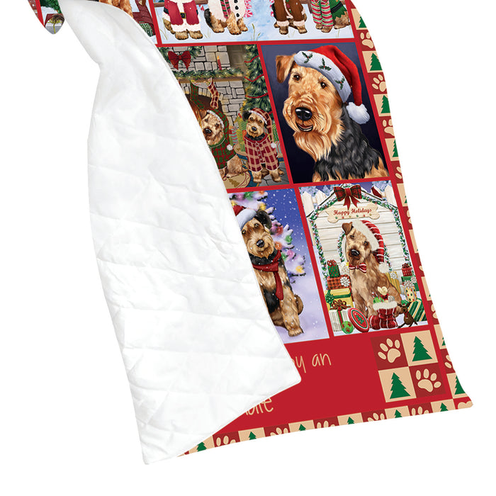 Love is Being Owned Christmas Airedale Terrier Dogs Quilt