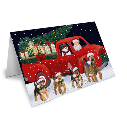 Christmas Express Delivery Red Truck Running Airedale Dogs Greeting Card GCD75035