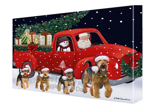Christmas Express Delivery Red Truck Running Airedale Dogs Canvas Print Wall Art Décor CVS145781