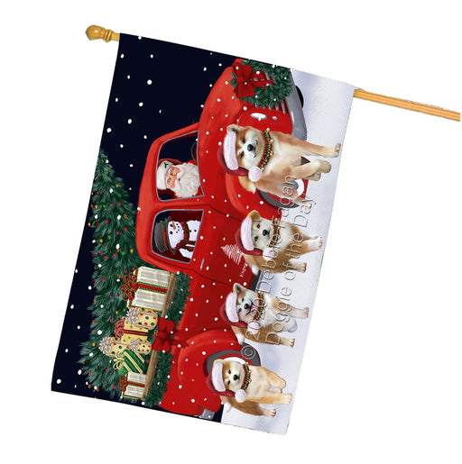 Christmas Express Delivery Red Truck Running Akita Dogs House Flag FLG66488