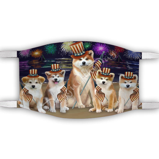 4th of July Independence Day Akita Dogs Face Mask FM49363