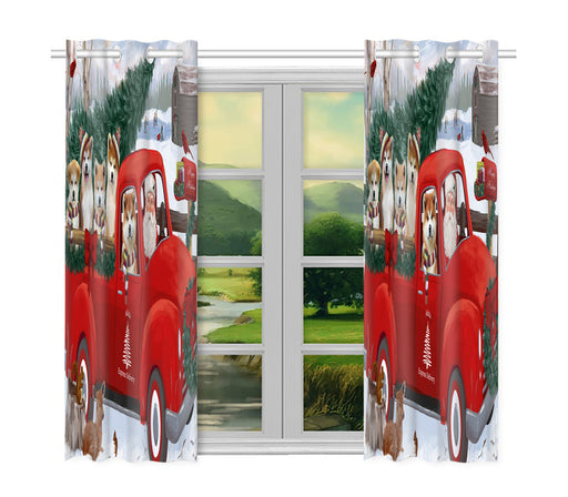 Christmas Santa Express Delivery Red Truck Akita Dogs Window Curtain