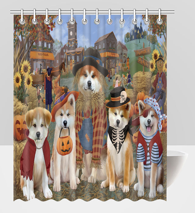 Halloween 'Round Town Akita Dogs Shower Curtain
