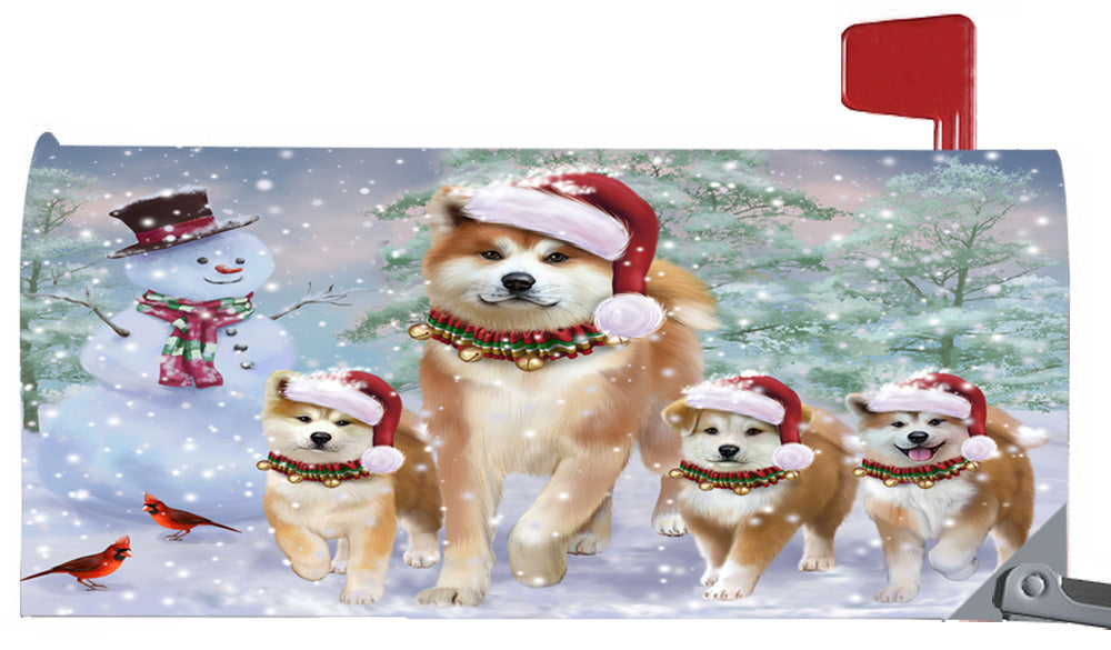 Magnetic Mailbox Cover Christmas Running Family Akitas Dogs MBC48269
