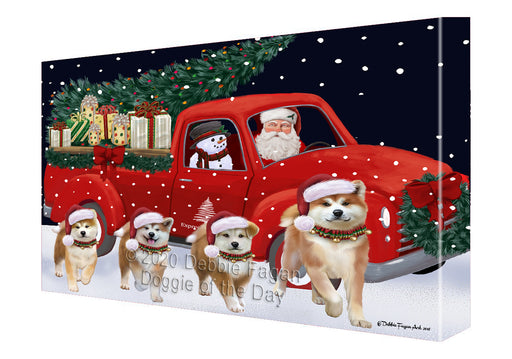 Christmas Express Delivery Red Truck Running Akita Dogs Canvas Print Wall Art Décor CVS145790