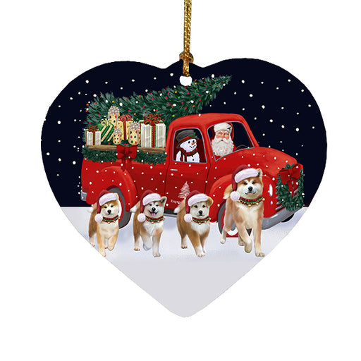 Christmas Express Delivery Red Truck Running Akita Dogs Heart Christmas Ornament RFPOR58059