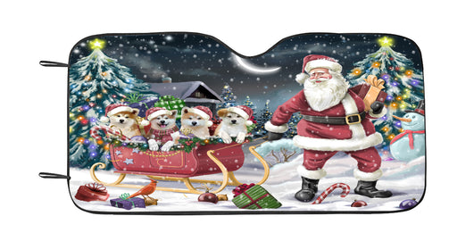 Santa Sled Dogs Christmas Happy Holidays Akita Dogs Car Sun Shade