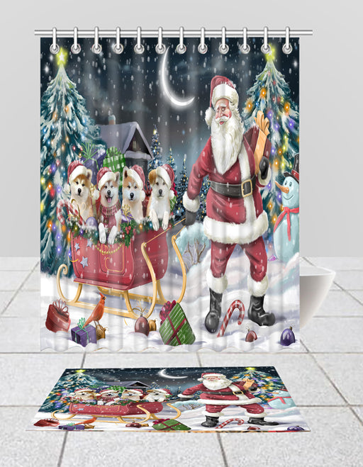Santa Sled Dogs Christmas Happy Holidays Akita Dogs Bath Mat and Shower Curtain Combo