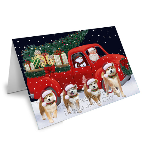 Christmas Express Delivery Red Truck Running Akita Dogs Greeting Card GCD75038
