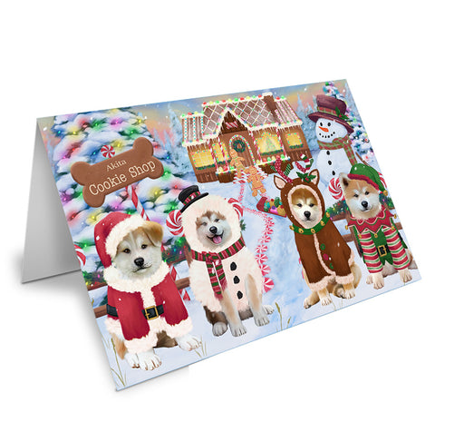 Holiday Gingerbread Cookie Shop Akitas Dog Note Card NCD72791