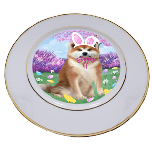 Easter Holiday Akita Dog Porcelain Plate PLT55254