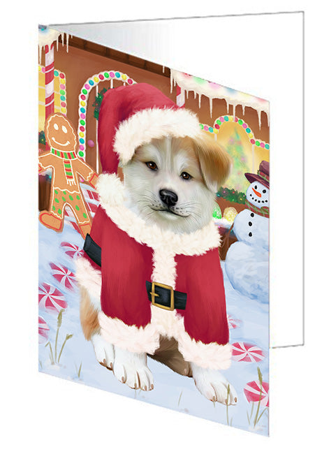 Christmas Gingerbread House Candyfest Akita Dog Note Card NCD72890