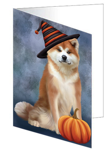 Happy Halloween Akita Dog Wearing Witch Hat with Pumpkin Note Card NCD68537