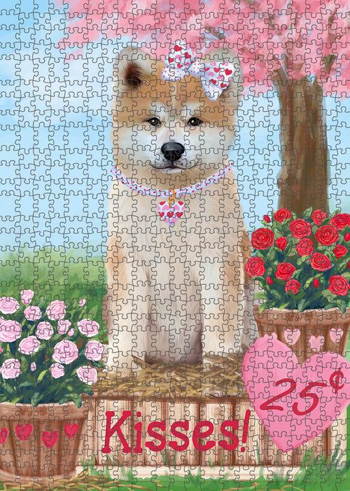 Rosie 25 Cent Kisses Akita Dog Puzzle with Photo Tin PUZL91236