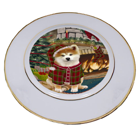 The Stocking was Hung Akita Dog Porcelain Plate PLT53501