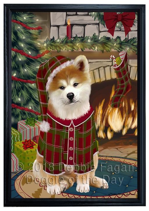 The Stocking was Hung Akita Dog Framed Canvas Print Wall Art FCVS174633