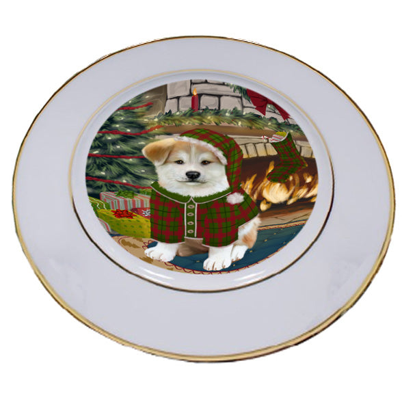 The Stocking was Hung Akita Dog Porcelain Plate PLT53502