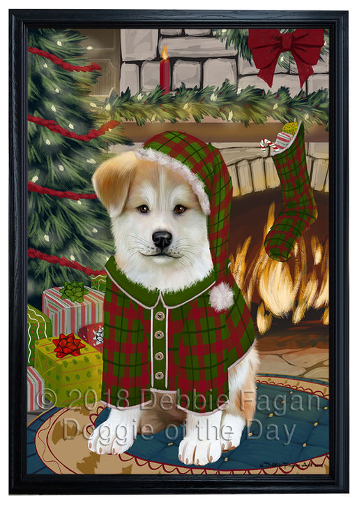 The Stocking was Hung Akita Dog Framed Canvas Print Wall Art FCVS174650
