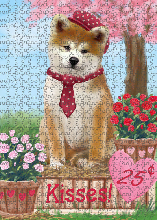 Rosie 25 Cent Kisses Akita Dog Puzzle with Photo Tin PUZL91240