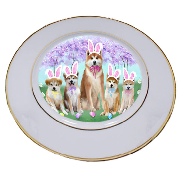 Easter Holiday Akitas Dog Porcelain Plate PLT55255