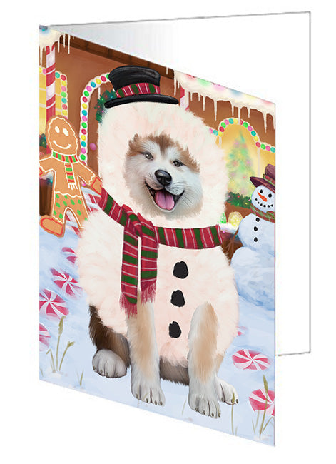 Christmas Gingerbread House Candyfest Akita Dog Note Card NCD72893