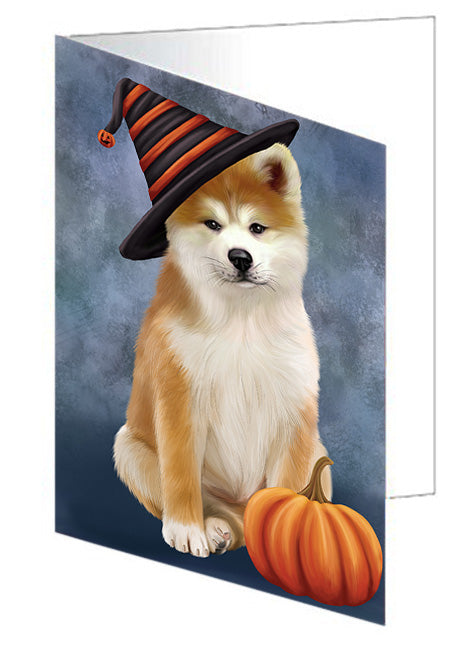 Happy Halloween Akita Dog Wearing Witch Hat with Pumpkin Note Card NCD68540