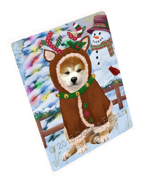 "Christmas Gingerbread House Candyfest Akita Dog Magnet MAG73519 (Mini 3.5"" x 2"")"